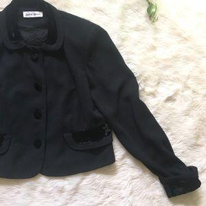 1980s Crushed Velvet Peter Pan Collar Crop Blazer